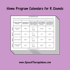 Home Program Calendars for R Sounds