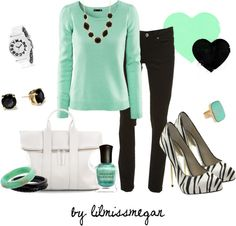 """Mint, Black & White"" by lilmissmegan on Polyvore"