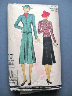 1930s Du Barry 2072B Vintage 30s Women's Suit Sewing by Fancywork
