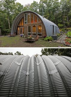 Coughlin Architecture have designed the Q Hut, a modern take on a barn, which has been transformed into an escape from the city for its owners. Hut House, Dome House, Building Design, Building A House, Quonset Hut Homes, Arched Cabin, Casa Hotel, Structure Metal, Steel Buildings