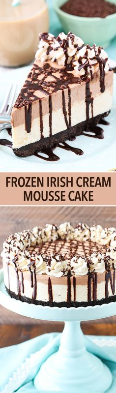 Frozen Irish Cream Mousse Cake - chocolate and Irish cream combine to make this…
