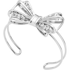 Ted Baker Josz Jewelled Bow Cuff, Silver ($61) ❤ liked on Polyvore featuring jewelry, bracelets, silver charms jewelry, silver charms, ted baker jewellery, bow charm and silver bow jewelry