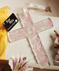 Murano Glass  Collection hanging cross favors (pink)