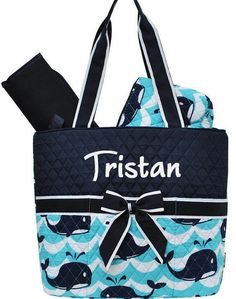 Personalized Diaper Bag Navy Blue Aqua Whales Quilted Monogrammed Baby Tote