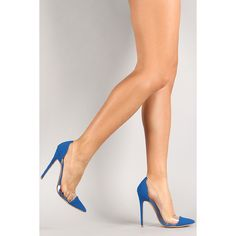 This gorgeous single sole pump features a combination of nubuck/lucite upper, pointy toe silhouette, scooped vamp, and stiletto heel. Sexy Legs And Heels, Sexy High Heels, Stiletto Pumps, Pumps Heels, Transparent Heels, Stockings Heels, Clear Heels, Fashion Heels, Crazy Shoes