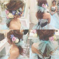 * * wedding ♡ hair * * ダウン ♡ 生花 ♡ チュール * * #ヘアアレンジ #ウェディング #マリhair