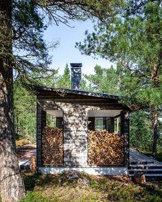 Sauna in Kirkkonummi Summer Cabins, Firewood Storage, Saunas, Garden Buildings, Gone Fishing, Skate Park, Cabins In The Woods, House Plans, Cottage