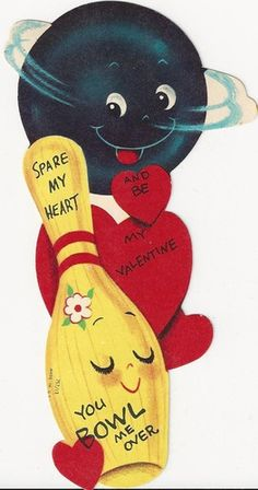 Spare my heart You bowl me over -  Vintage Anthropomorphic Valentine Card