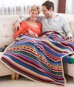 "Southwestern Rainbow Throw, free pattern (LW4724) by Marianne Forrestal for Red Heart. Mixed-stitch throw in 11 colors, 44""W x 54""L  . . .  ღTrish W ~ http://www.pinterest.com/trishw/  . . . #crochet #afghan #blanket"
