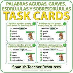 Spanish Task Cards – Palabras Agudas, Graves, Esdrújulas y Sobresdrújulas