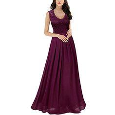 78b70b5b0b Miusol Damen Elegant Ärmellos V-Ausschnitt Spitzenkleid Brautjungfer  Partykleid Festliches Kleid Chiffon Faltenrock Langes Kleid