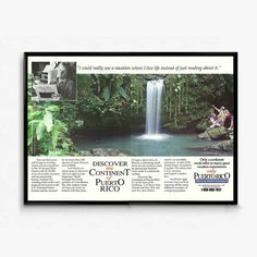 Puerto Rico Travel Posters  Puerto Rican Landscape  Outdoor Waterfall Scene  Travel and Tourism Ad  90s Travel Ad  Vacation Wall Art by RetroPapers