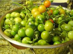 Green tomato recipes: green cherry tomatoes, Martha Stewart (I'll need this since mine didn't get the chance to ripen) Fruit And Veg, Fruits And Veggies, Vegetables, Veggie Dishes, Vegetable Recipes, Side Dishes, Green Tomatoes, Cherry Tomatoes, Green Tomato Recipes