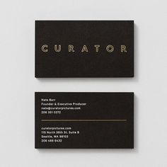 Business cards with gold foil detail by Shore for Seattle-based production company Curator Pictures.