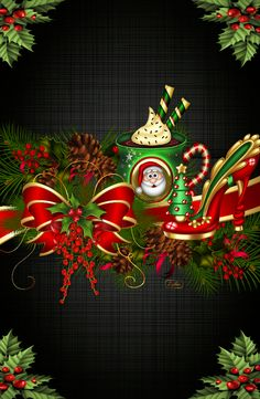 By Artist L. - Wallpaper… By Artist L… - Christmas Mugs, Winter Christmas, Christmas 2019, Christmas Wreaths, Christmas Decorations, Xmas, Cute Christmas Backgrounds, Illustration Noel, Holiday Wallpaper