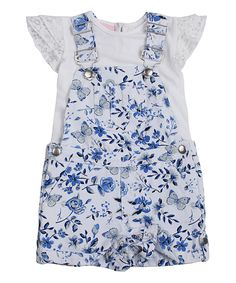 Look what I found on #zulily! Ivory Cap-Sleeve Tee & Floral Shortalls - Toddler by Little Lass #zulilyfinds