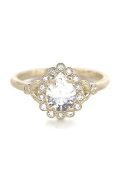 Vintage antique inspired engagement rings, Art Deco engagement rings by Rough Luxe Jewelry. Timeless Engagement Ring, Vintage Inspired Engagement Rings, Floral Engagement Ring, Halo Diamond Engagement Ring, Pear Shaped Diamond Ring, Pear Diamond, Wedding Proposals, Paris Wedding, Wedding Dreams