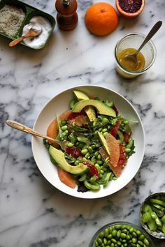 Avocado, Grapefruit, and Edamame Salad