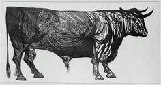 Leonard Baskin: Bull (1951) Linocut