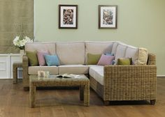 Abington Corner Chair, Large Left Arm Sofa, Right Arm Sofa & Coffee Table . Fabric Shown: Cushions: Porto Scatters: Lavender, Sky & Olive. Frame Shown: Kubu Effect