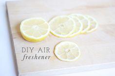 DIY Air Freshener  A few lemons, 3 drops orange oil and pot of boiling water, simmer through out day Michaela Noelle Designs