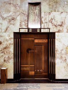 Elevator, Bullocks Wilshire - Los Angeles wave pattern, inlay on door