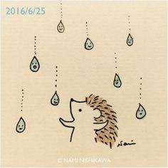 Raining-happy-raindrops hedgehog ©Nami Nishikawa