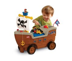 Little Tikes 2-in-1 Pirate Ship. Button-on mast activates realistic pirate ship sounds. Includes three figurines, cannon, anchor and pirate flag. Deck hatch doubles as storage for accessories.