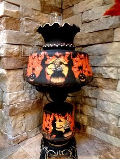 LARGE *VINTAGE HALLOWEEN~ WITCH* HAUNTED HOUSE  3*WAY~ TABLE LAMP HP* by Peggy G