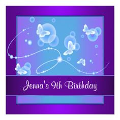 Shop Purple Butterfly Birthday Party Invitation 9 created by InvitationCentral. Bubble Birthday Parties, Butterfly Birthday Party, Purple Birthday, 8th Birthday, Birthday Ideas, Purple Butterfly, Custom Invitations, Birthday Party Invitations, Birthday Decorations