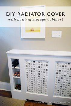 DIY Radiator Cover with storage cubbies | Ramblingrenovators.ca