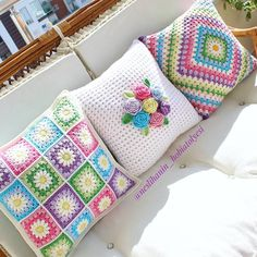 Crochet Afghans Set of 3 crochet cushion covers, handmade cotton and natural wool blanket - Crochet Cushion Cover, Crochet Pillow Pattern, Crochet Motifs, Crochet Cushions, Crochet Squares, Granny Squares, Blanket Crochet, Crochet Afghans