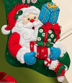 Bucilla Santa's Gifts  16 Felt Christmas Stocking Felt Stocking Kit, Christmas Stocking Kits, Felt Christmas Stockings, Cute Stockings, Santa Stocking, Santa Gifts, Felt Applique, Christmas Traditions, Presents