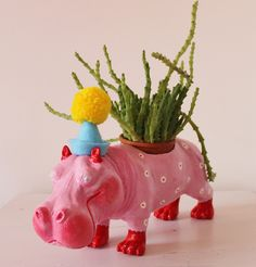 Hand Painted Party Hippopotamus Planter, Desk Tidy JulieJohnsonGallery on Etsy