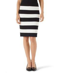 White House | Black Market Striped Ponte Pencil Skirt