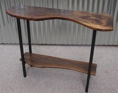 Items similar to Live edge walnut console table & steel base on Etsy Walnut Table, Walnut Wood, Live Edge Console Table, Console Tables, Entry Tables, Nice Curves, Kitchen And Bath, Wood Projects, Entryway