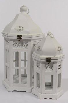 """Set of 2 Vintage Rose Distressed White Hexagonal Wood Floral Pillar Candle Lanterns 19.5"""""""""""