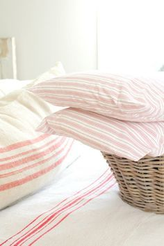 I love the smell of clean sheets on my bed Linen Bedroom, Linen Bedding, Pink Bed Linen, Striped Bedding, Striped Linen, Clean Sheets, Ticking Stripe, Ticking Fabric, Linens And Lace