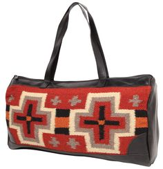 "Handwoven 100% wool weavings in classic Zapotec styles and Southwest  eye catching colors with Grade 'A' rich faux leather combined with sturdy construction, has a top quality zipper, sturdy double straps.  Handcrafted with a fully lined inside in three great handbag styles.  8"" bottom panel Apx. 18"" X 10"""