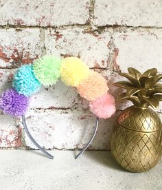 Rainbow Pom Pom Headband, Carnival Headpiece, Pom Poms, Pastel Rainbow, Unicorn Headband, Coachella, Pomlove, Festival Headwear, Rave Outfit
