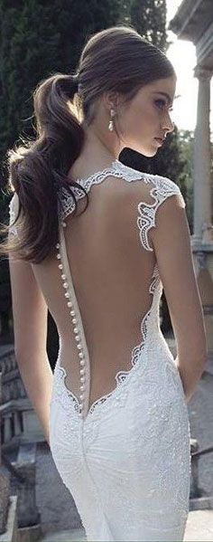 Ponytail Looks for Your Wedding A low ponytail with a backless wedding dress with pearls for a modern bride.A low ponytail with a backless wedding dress with pearls for a modern bride. Berta Bridal, Bridal Gowns, Bridal Lace, Wedding Dresses 2014, Wedding Gowns, Party Dresses, Dresses Dresses, The Bride, Bride Groom