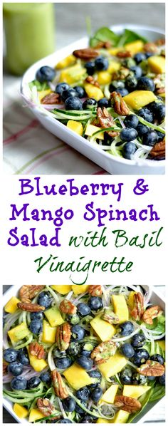 Bright tangy and bursting with fruity flavor! A perfect main dish salad or side. Dairy-free and Paleo. The post Blueberry and Mango Spinach Salad with Basil Vinaigrette appeared first on Tasty Recipes. Easy Salads, Summer Salads, Summer Diet, Paleo Recipes, Cooking Recipes, Paleo Food, Tea Recipes, Paleo Diet, Cooking Tips