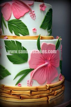 I want someone to make me this.  Jennifer Luau Hibiscus Cake, love the bamboo.