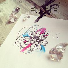Lotus abstract watercolour geometric tattoo