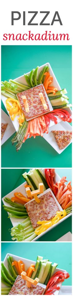 Pizza snackadium with veggie dippers. This is a super-cute way to serve pizza for a football game!