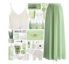 """""""Cucumber Ice"""" by ladyvalkyrie ❤ liked on Polyvore featuring Chicwish, Mulberry, JuJu, Fekkai, A.P.C., Essie, Könitz, Fujifilm, Clinique and FOSSIL"""