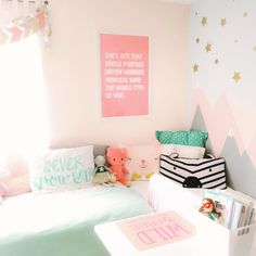 I said if I had a daughter her room would never be pink, now this room is full of all kinds of pink because it just so happens to be her…