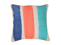 Striped Coral & Blue Cushion Cover