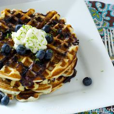 Back to School Breakfast – Blueberry Lime Waffles | Our Lady of Second Helpings