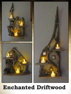 Items similar to Custom Handmade Medium Driftwood Fairy House Home Wall Decor on Etsy